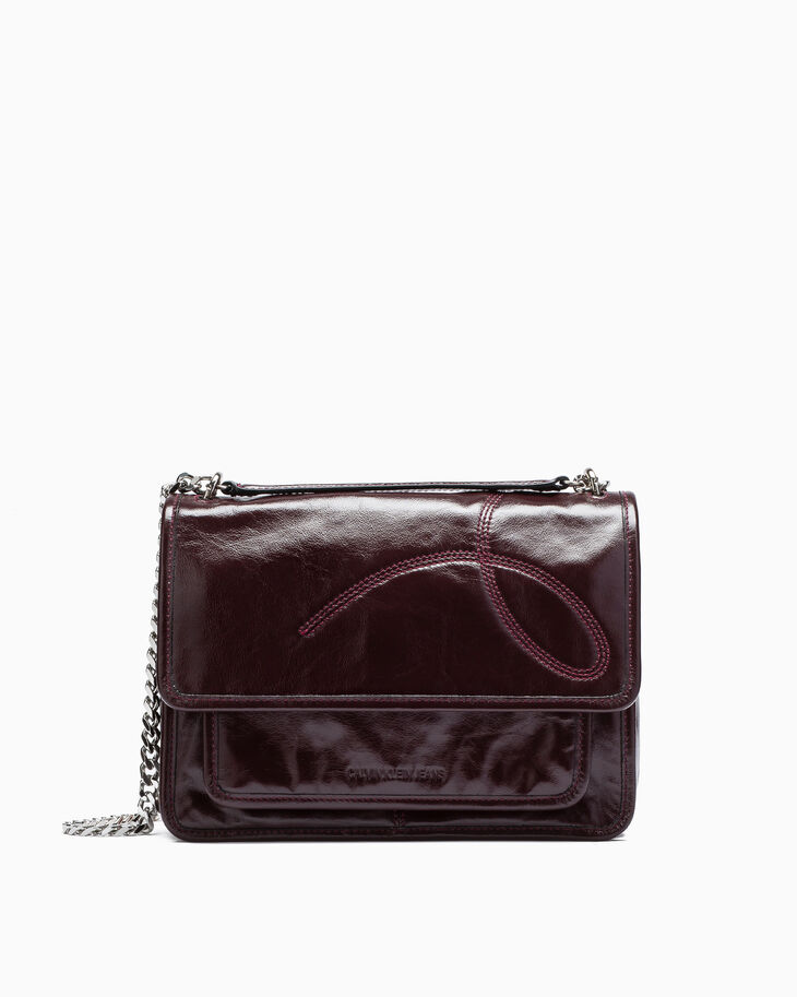 CALVIN KLEIN POCKET STITCH EW FLAP HANDBAG