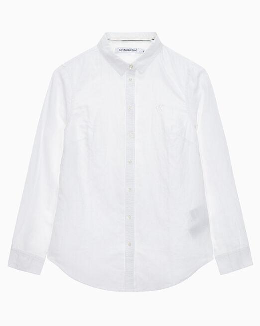 CALVIN KLEIN 여성 린넨 릴렉스드 핏 셔츠