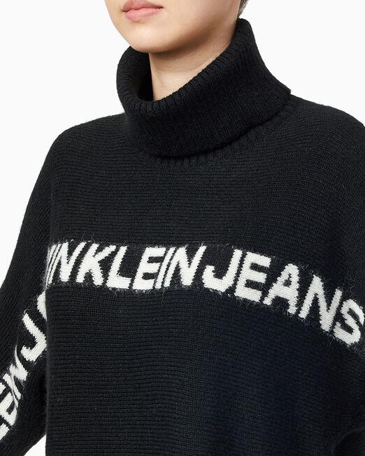 CALVIN KLEIN 여성 로고 바나나 스웨터 드레스