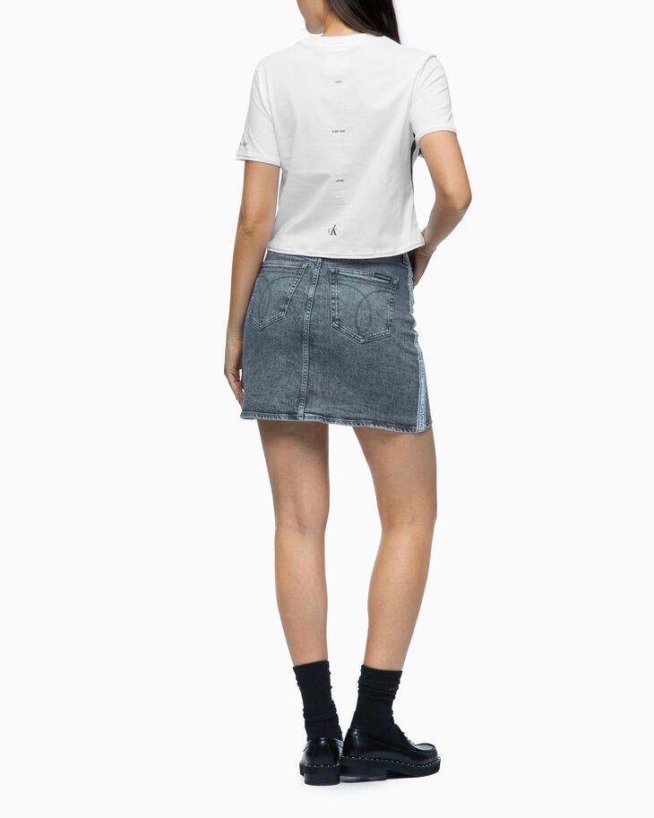 CALVIN KLEIN LOGO TAPE HIGH RISE DENIM SKIRT