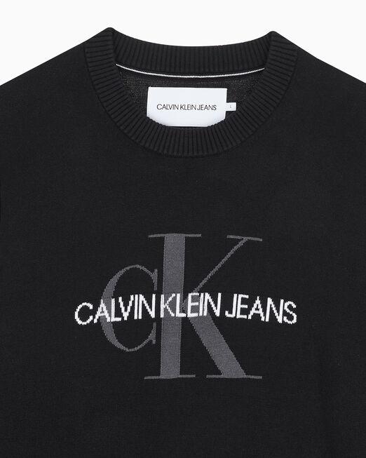 CALVIN KLEIN 남성 레귤러핏 모노그램 로고 코튼 스웨터