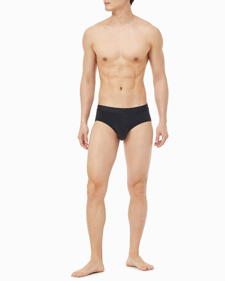 CALVIN KLEIN CK BLACK SILK KNIT HIPSTERS BRIEFS