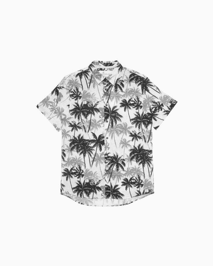 CALVIN KLEIN PALM TREE PRINT LINEN SHIRT