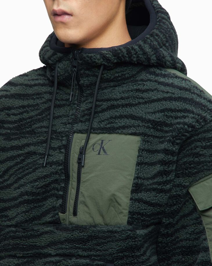 CALVIN KLEIN ANIMAL PRINT ZIP UP FLEECE HOODIE