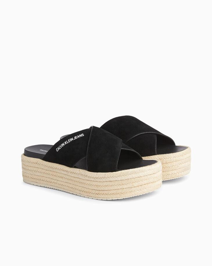 CALVIN KLEIN CHUNKY LEATHER 編織涼鞋