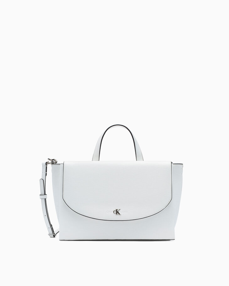 CALVIN KLEIN TEXTURED LEATHER SATCHEL