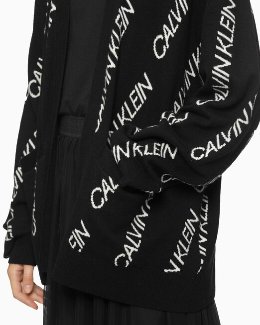 CALVIN KLEIN ALL OVER LOGO CARDIGAN