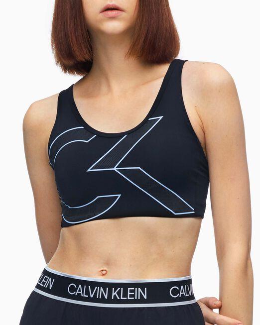 CALVIN KLEIN 여성 레이스 프린트 인플렉스 웹 미드 서포트 브라