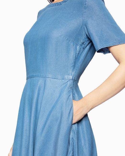 CALVIN KLEIN 여성 인디고 텐셀 플레어 드레스