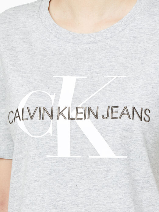 CALVIN KLEIN 여성 스트레이트핏 모노그램 로고 반팔 티셔츠