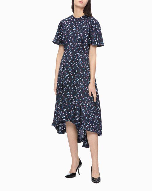 CALVIN KLEIN 여성 플레어 슬리브스 올오버프린트 드레스