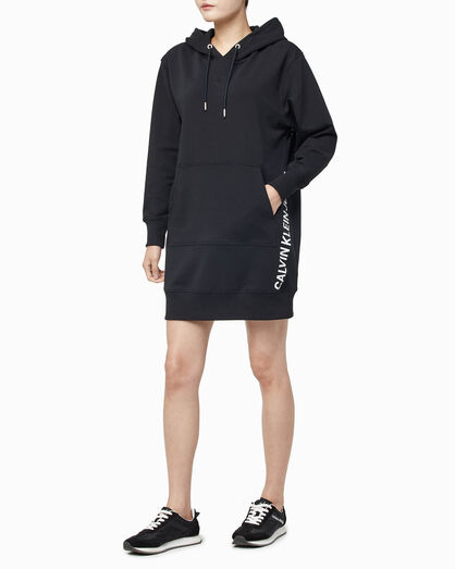 CALVIN KLEIN FREE STRETCH LOGO HOODED DRESS