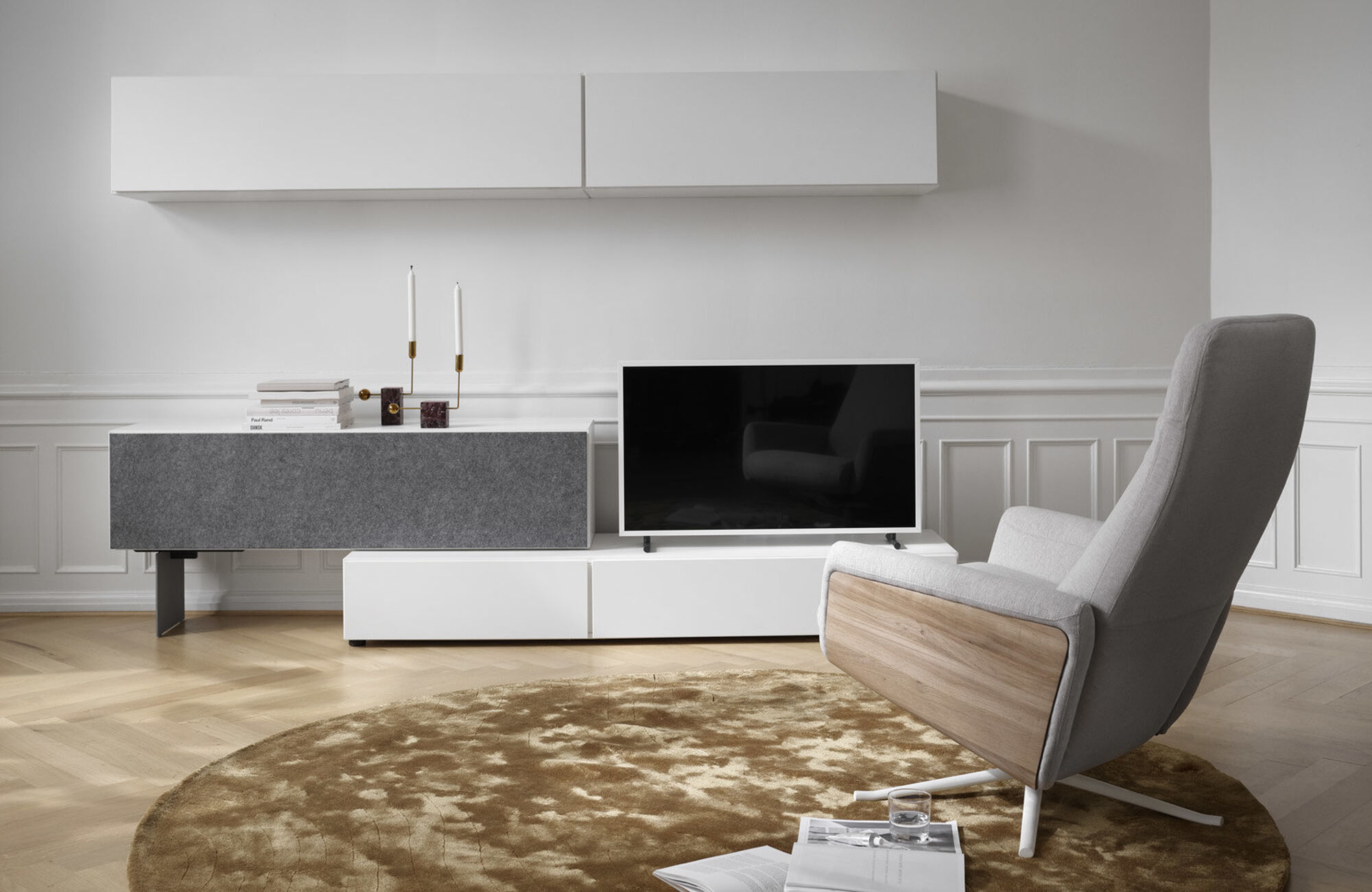 Wall systems - Lugano wall system with drawer, drop down and flip up doors
