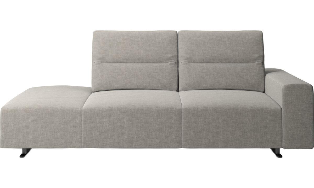 Диваны без подлокотников - Диван Hampton с регулируемой спинкой и модулем для отдыха слева и подлокотником справа - Серого цвета - Tкань