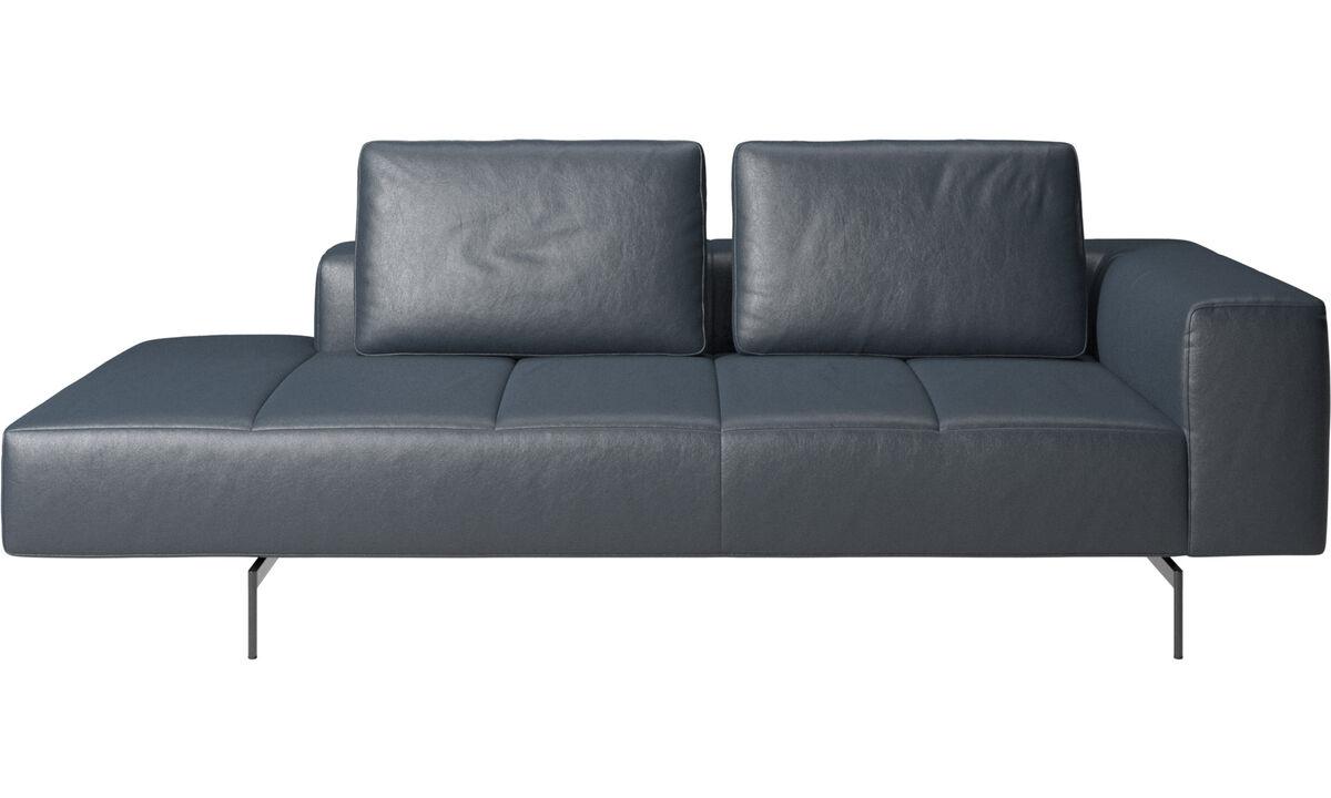 Модульные диваны - Модуль для отдыха Amsterdam, подлокотник справа, открытый модуль слева - Синего цвета - Tкань