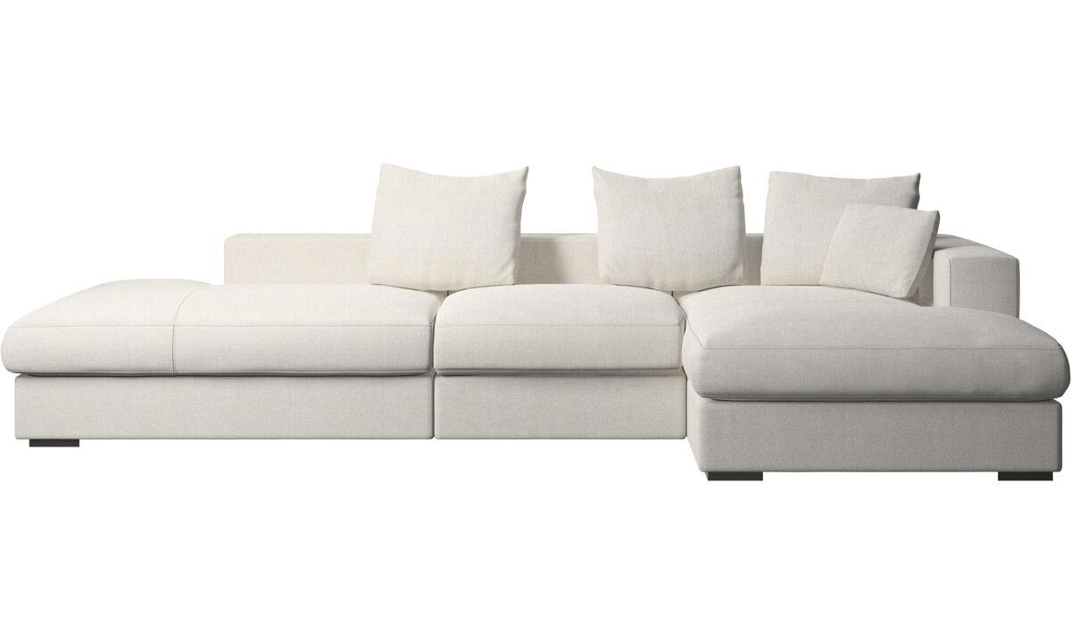 Диваны без подлокотников - Диван Cenova с модулем для отдыха - Белый - Tкань