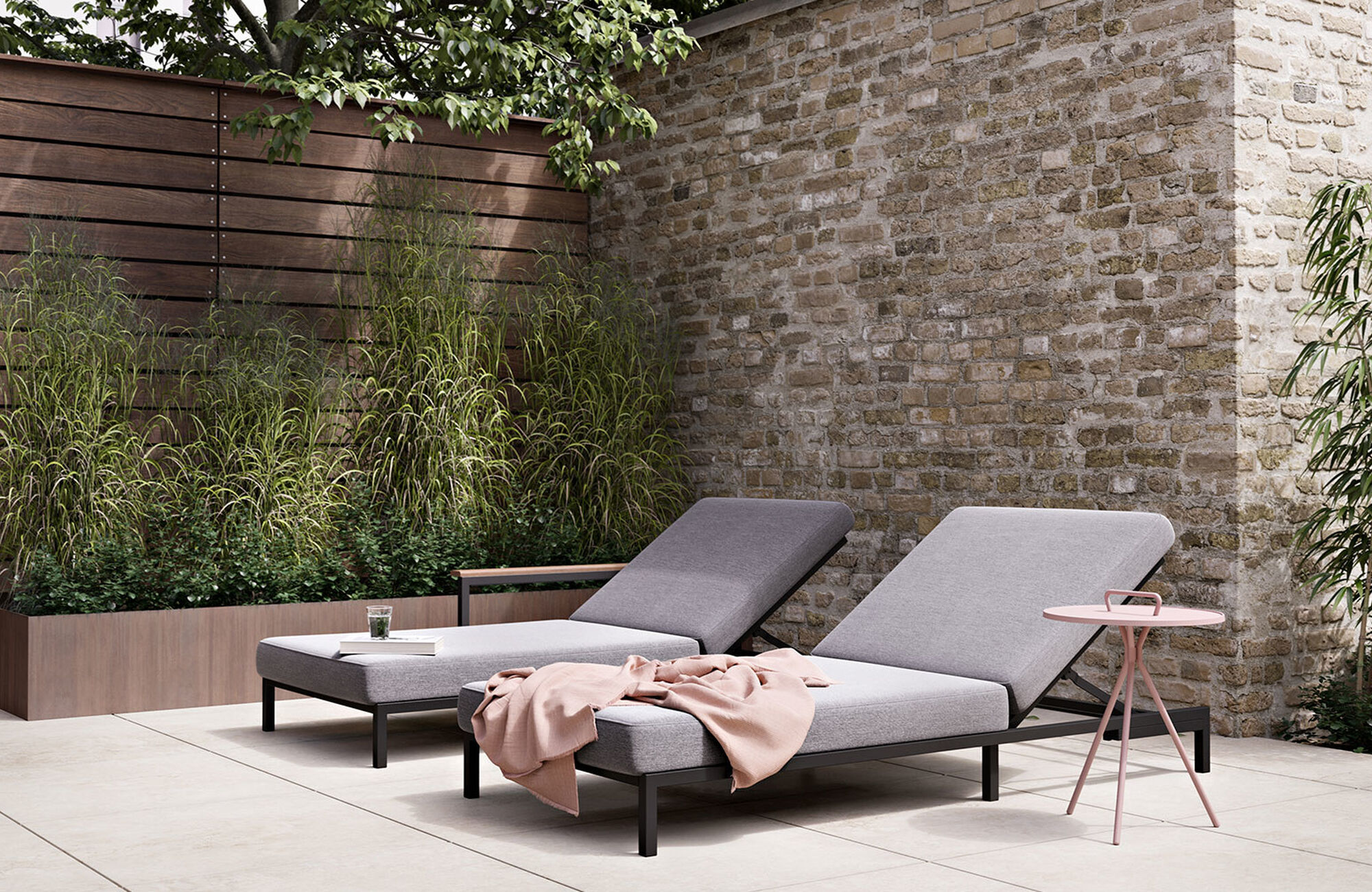 Outdoor lounge furniture - Rome sunbed without armrest