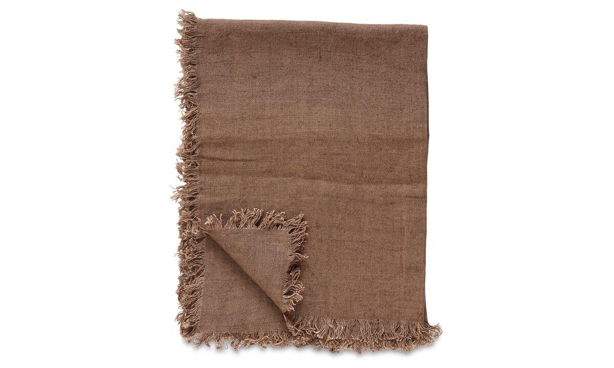 Ριχτάρια & καλύμματα κρεβατιών - Ριχτάρι Linen - Καφέ - Ύφασμα