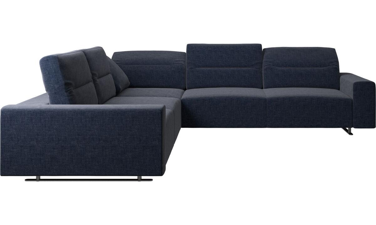 Угловые диваны - Угловой диван Hampton с регулируемой спинкой - Синего цвета - Tкань