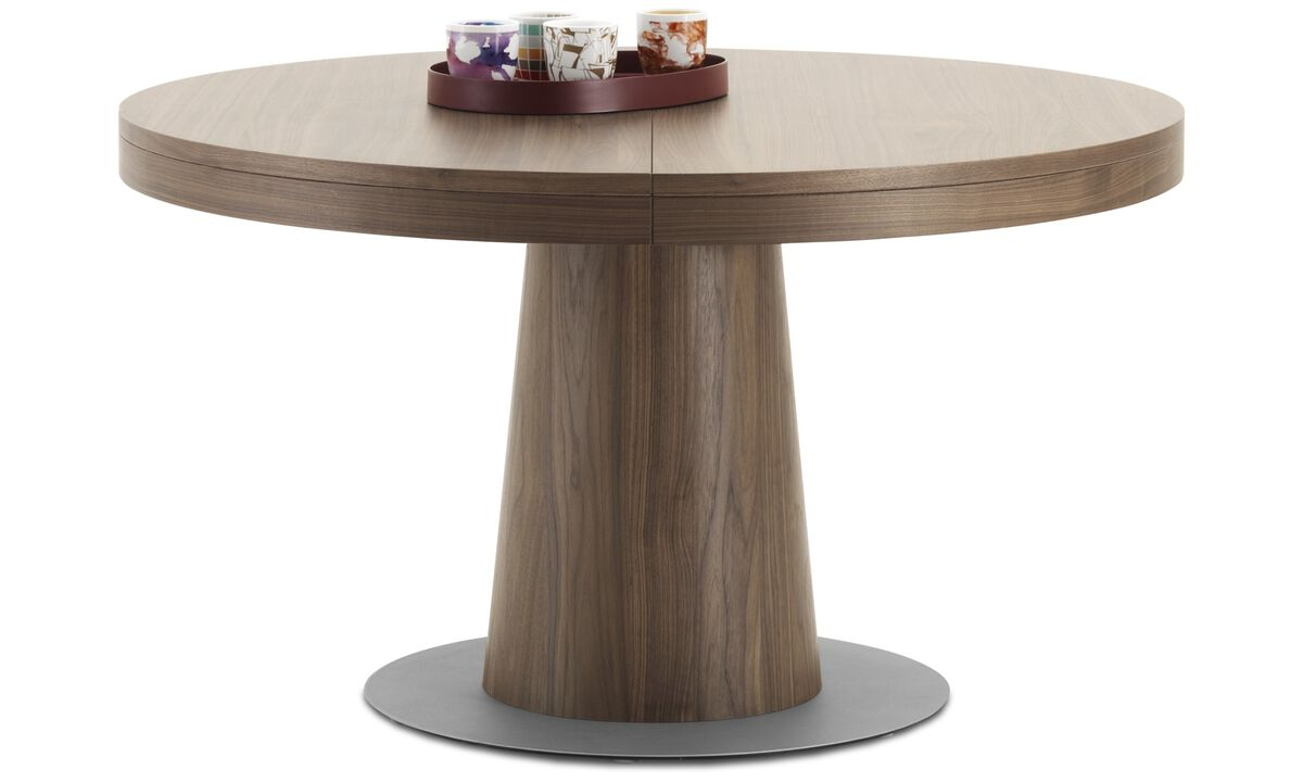 Extendable dining tables - Granada table with supplementary tabletop - round - Brown - Walnut