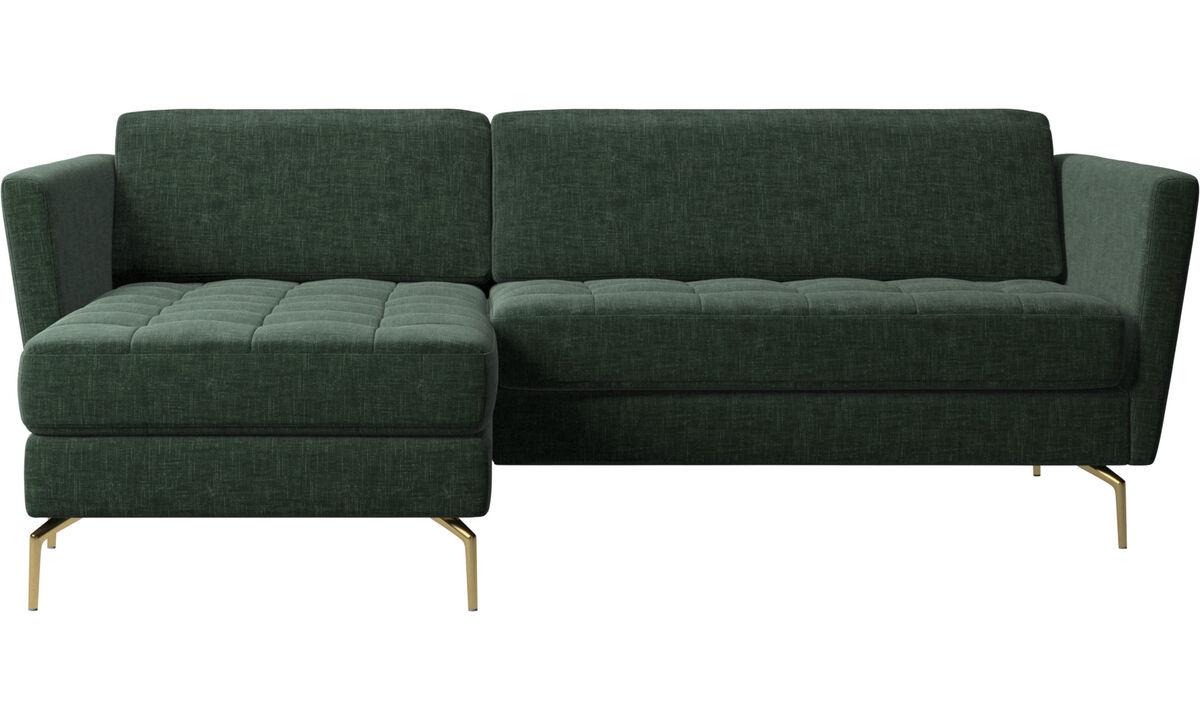 Sofás com chaise - Sofá Osaka com módulo chaise-longue, assento tufado - Verde - Tecido