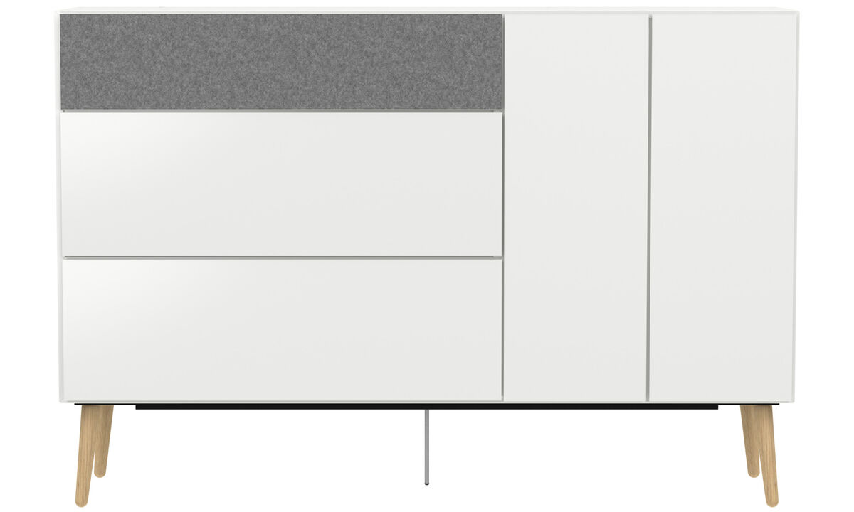 Sideboards - Lugano highboard with drawers and drop down door - White - Lacquered