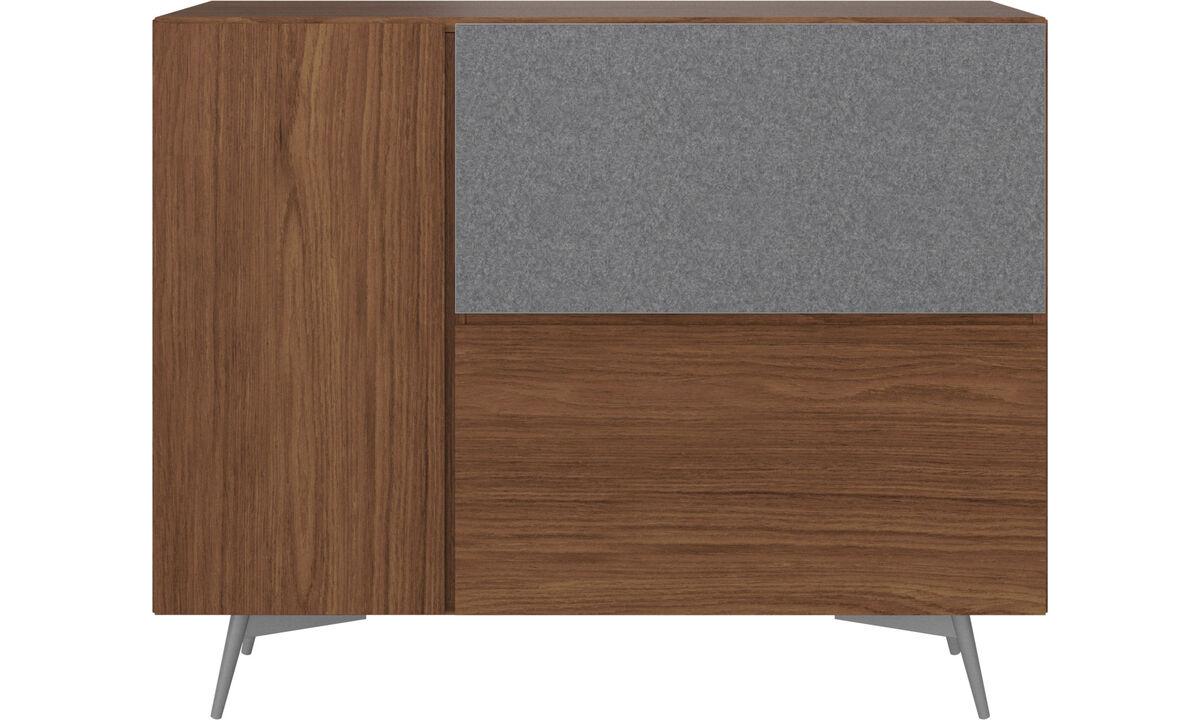 Sideboards - Lugano highboard with drop down doors - Brown - Walnut