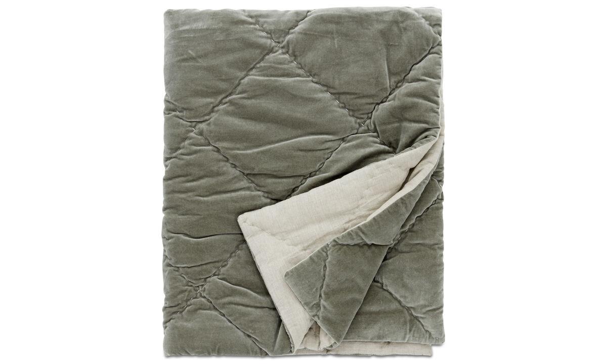 Ριχτάρια & καλύμματα κρεβατιών - κάλυμμα κρεβατιού Pure - Πράσινο - Ύφασμα