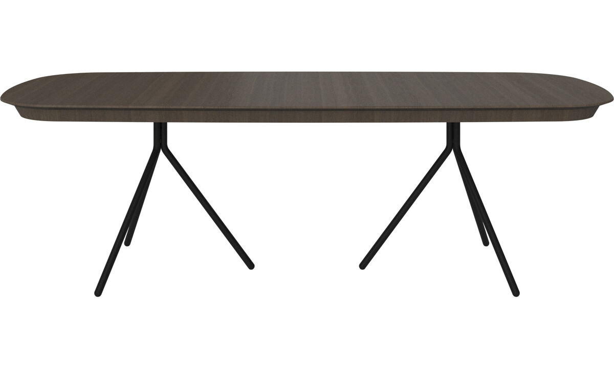 Extendable dining tables - Ottawa table with supplementary tabletop - oval - Brown - Oak