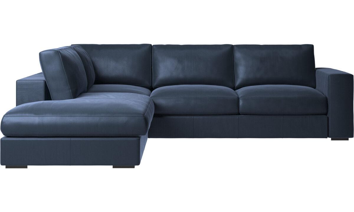 Modern Blue Leather Designer Sofas With Open End Boconcept