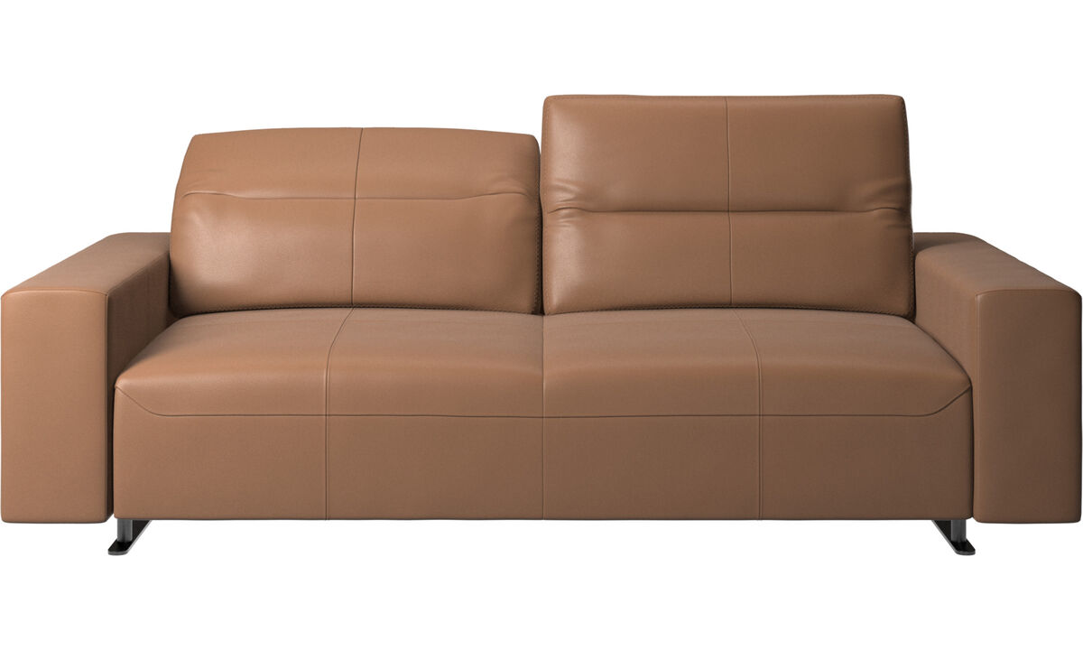 2,5-местные диваны -  диван Hampton с регулируемой спинкой и системой хранения с правой стороны - Коричневого цвета - Кожа