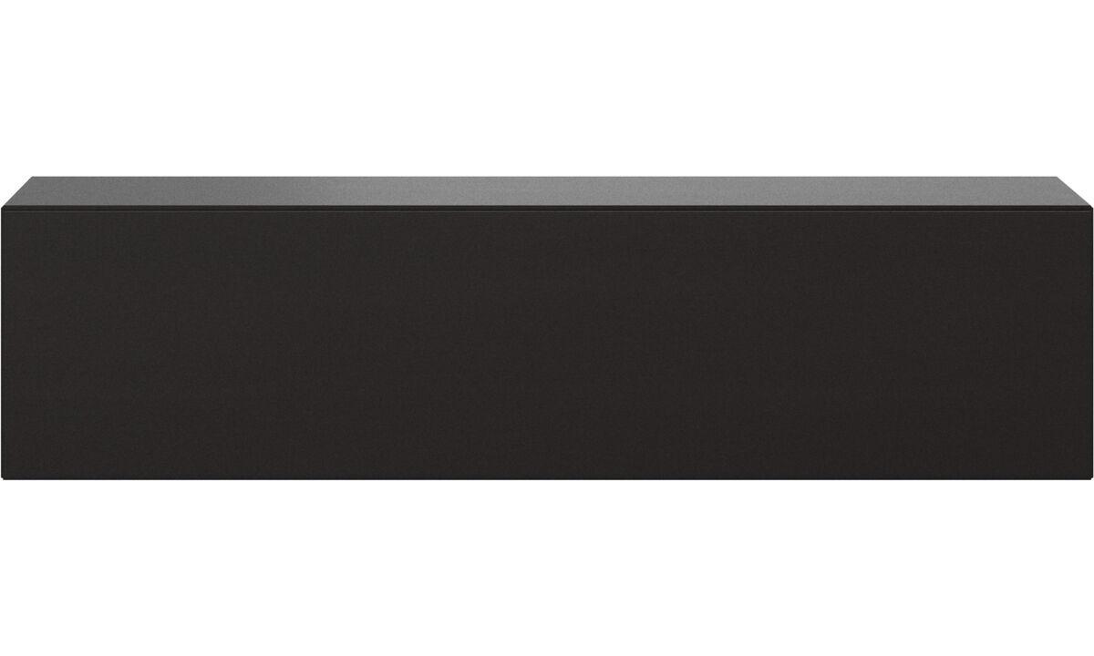 Mediabänkar - Lugano skåp, väggmonterad med nedfällbar lucka - Svart - Ek