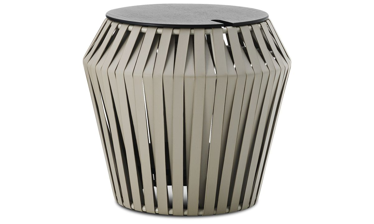 Small furniture - Valencia side table - round - Grey - Bonded leather