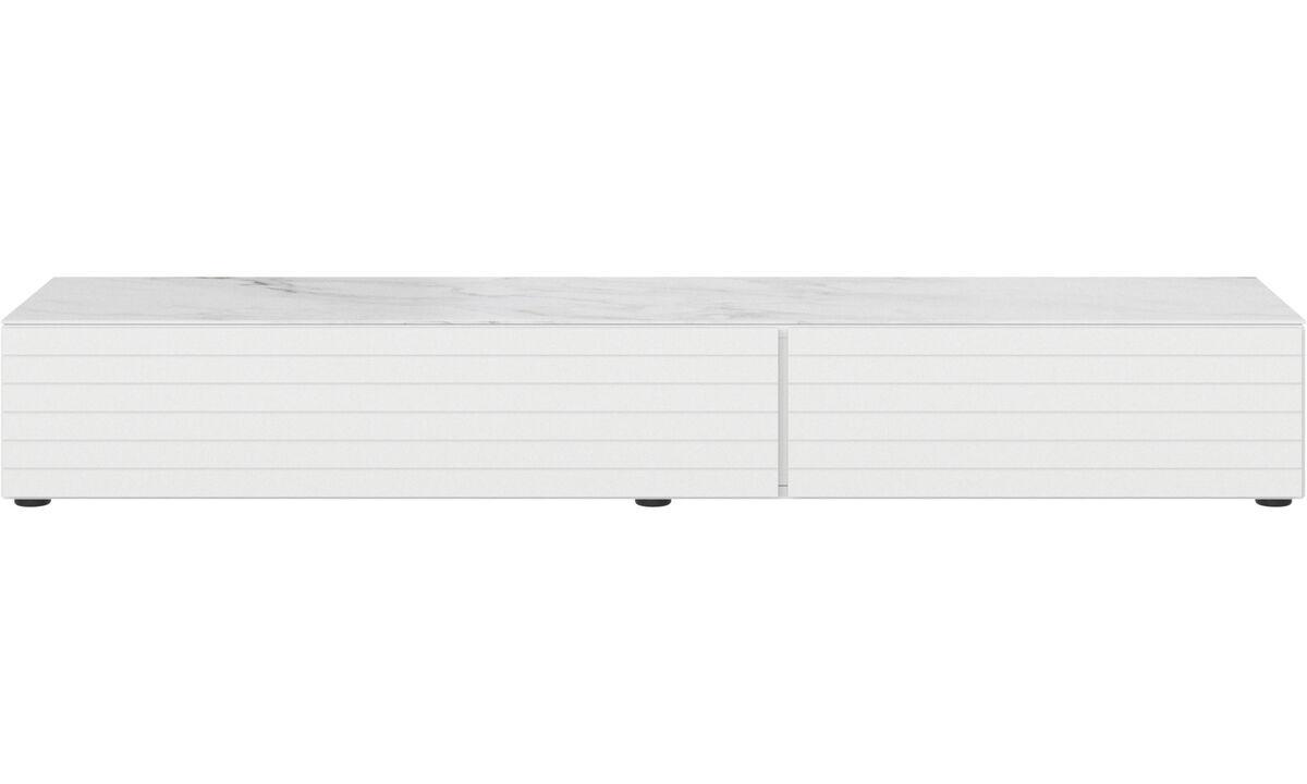 Mediabänkar - Lugano underskåp med låda, nedfällbar dörr och topplatta - Vit - Lack