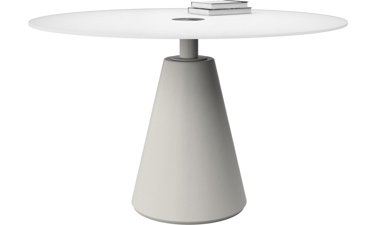 Dining tables - Madrid table - round - White - Glass