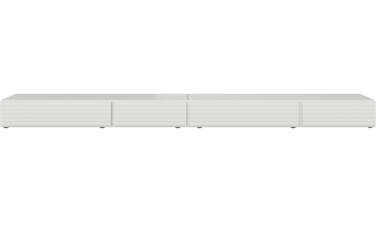 Mediabänkar - Lugano underskåp med lådor och drop down luckor - Vit - Lack